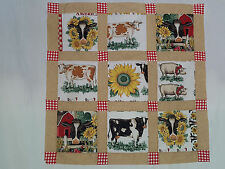 Unfinished Quilt Top -Farm Animals, beige sashes, red gingham crnrs, 32.5 x 32.5