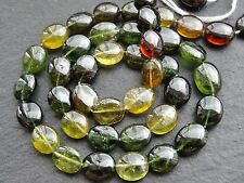"HAND SHAPED GREEN & YELLOW TOURMALINE OVALS, approx 8x10mm, 15"", 42 beads"