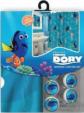NEW 13pc Disney Finding Nemo Dory Shower Curtain & Hooks Bath Set