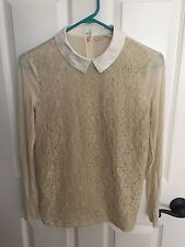 Tory Burch Ivory Lace Overlay Collared Blouse Top Xs Excellent