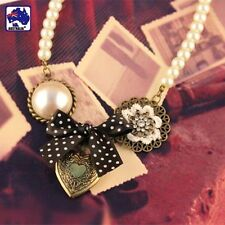 Retro Venetian Pearl Bronze Beed Necklace Jewelry Heart Pendant Ribbon JNECK1401