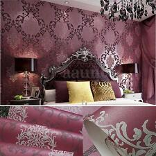 10m Modern Luxury Non-woven Damask Textured Embossed Flocking Wallpaper Roll