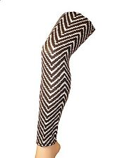 Ladies/Womens Black and White Zig Zag patterned Leggings