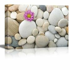 """Wall26-Canvas Prints Wall Art - Zen Pebble Stones with Pink Carnation- 16"""" x 24"""""""