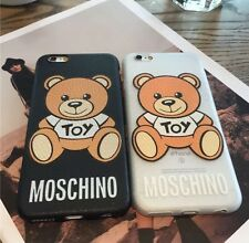 Moschino logotipo Teddy Estuche Para Iphone 7 7 Plus 6s Iphone 6 6 Plus 6 splus-Negro/Blanco