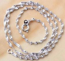 24K White Gold Filled Water Wave Chain silver necklace 450mm