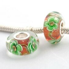925 Silver Core Murano Glass Flower Patterned Charm Bead With CZ Stones Inset