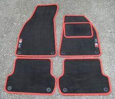 Dark Grey/Red SUPER VELOUR Car Mats - Audi A4 (B6+B7 01-08) + S-Line Logos (x2)