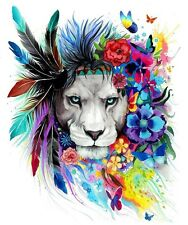 LION CHIEF CAT WATERCOLOUR ART  IMAGE A4 Poster Gloss Print Laminated