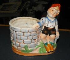 VINTAGE JAPAN ART POTTERY HUMMEL BOY SITTING BY A WELL PLANTER