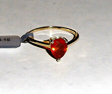 10K Yellow Gold Orange Fire Opal Pear (AAA) Solitaire Ring, Size 10, 1.24(TCW)
