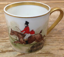 Fairwood Germany 282 Demitasse Cup Boehm Dogs Hunt Over Fence Jump Fence Horse B