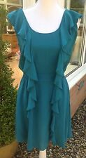 WAREHOUSE Teal Silk Dress - Size 14 - Green, Summer, Cruise, Races