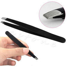 Black Eyebrow Tweezers Hair Beauty Slanted Stainless Steel Tweezer Tool
