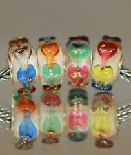 MULTICOLOR HEART HERZ COLOR925 Sterling Silber Murano Glas Beads  Charms