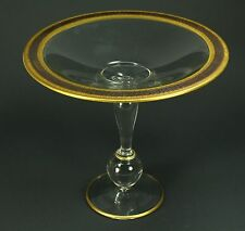 * Fine Clear Glass & Gold Trim Raised Cake Stand Compote Tazza 2-Mold