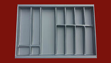 Cutlery Tray - Grey For Soft Close Kitchen Drawers - 474mm D x 55mm H x 800mm W
