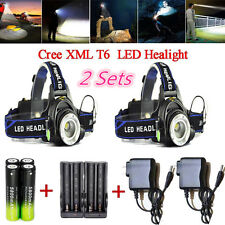 2 Sets Recharge CREE XML T6 LED 3-mode 8000LM Zoom Headlight C213&18650&Charger