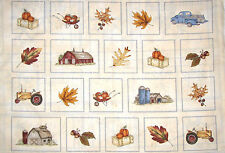 Harvest Farm Fabric - Barn Autumn Leaves Tractor Fields of Gold Maywood - Panel