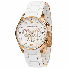 Emporio Armani Sportivo White / Rose Gold Quartz Analog Women's Watch AR5920