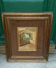 antico dipinto olio su tela scorcio di casa campagna