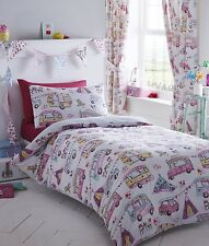 KING SIZE DUVET COVER SET GLAMPING TENTS CARAVAN FESTIVAL FLORAL CHECKS MULTI