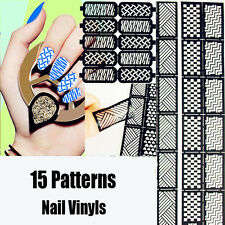 15 Patterns/Set DIY Nail Art Manicure Stencil Vinyls Easy Use Stickers Decals