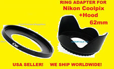 ADAPTER RING + FLOWER LENS HOOD FOR NIKON COOLPIX P510 P520 P530 62mm 62 mm