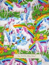 Animal Fabric - Michael Searle Unicorn Rainbow Scene - Timeless Treasures YARD