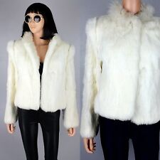 Womens White Jacket Genuine Rabbit Fur Crop Coat Winter Warm Bomber Vintage S/M