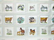 Farm Animals & Young fabric squares 100% cotton 112cm wide x 2 rows= 22 pictures