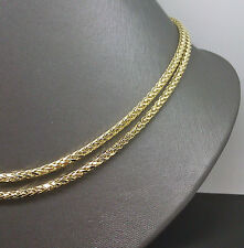 "30"" Long 10K Yellow Gold Palm Chain 3mm A10B0 Franco, Rope, Cuben"