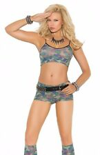 Camouflage Lingerie Set Women Camo Cami Bra Crop Top Booty Shorts Stockings Sexy