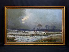 André-Paul Leroux(1870-1950)Large gouache 51x85 Paysage de neige Le havre Fécamp