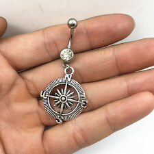 Steel Compass white Crystal Navel Belly Button Ring Body Piercing Jewelry *