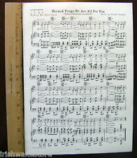 """TEXAS CHRISTIAN UNIVERSITY TCU Song c1929 """"Horned Frogs We Are All For You"""""""