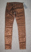 NWT 7 SEVEN FOR ALL MANKIND THE SKINNY 25 COPPER BRONZE CHEETAH LEOPARD JEANS