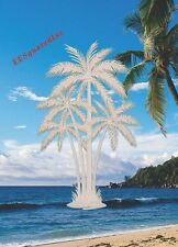 New Oval 21x33 PALM TREES WINDOW CLING Etched Glass Look Decals Tropical Decor
