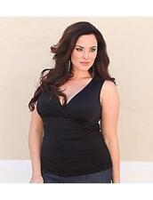 Kiyonna Plus Size Top Size 3X Black Sleeveless Roselyn Style Ruched Made in USA