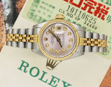 Ladies Pink Diamond Dial Steel & Gold Rolex Oyster Perpetual Datejust.
