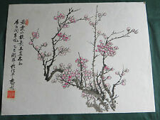 VINTAGE ORIGINALE Cinese Pennello Pittura Acquerello-Rosa Cherry Blossoms