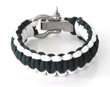 Paracord Survival Bracelet Any Size Green / White Adjustable Shackle USA Made
