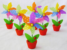 NEW SET OF 6 SPINNING WINDMILL IN FLOWER POT CHILDREN'S GARDEN TOY PW