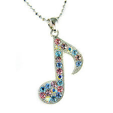 w Swarovski Crystal Piano Pastel MUSIC musical ~Eighth NOTE Quaver Necklace New