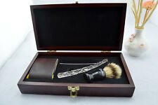 """Sweeney Todd"" WOODEN BOX GIFT SET STRAIGHT RAZOR BRISTLES SHAVING BRUSH STROP"