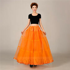 NORIVIIQ Long Petticoat Crinoline Orange Swing Vintage Underskirt Net Skirt