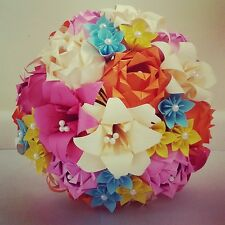 Paper Flower Origami Wedding Bouquet Roses Stargazer Lily Daisy Paper Flowers