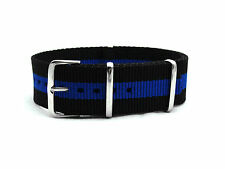 HNS Zulu Black & Blue Strip Heavy Duty Diver Nylon MoD G10 Watch Strap