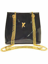 PALOMA PICASSO Black Patent Leather Gold Chain Strap Crossbody/Shoulder Bag