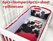disney mickey mouse crib sheets bedding cot set 6pcs Nursery baby boy infant